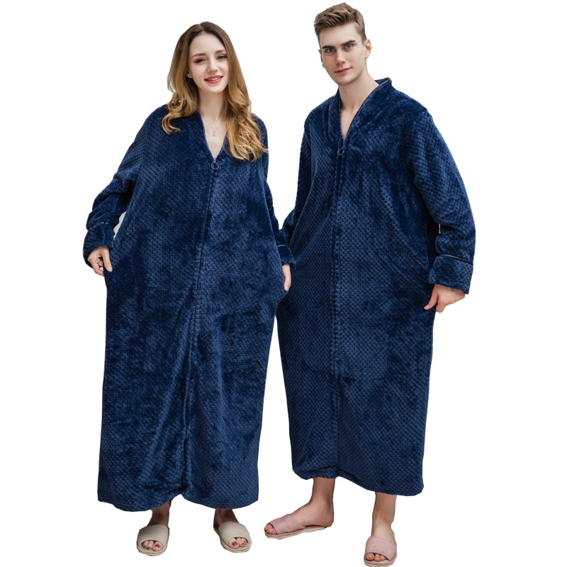 Осенне-зимний новый бархатный халат на молнии с молниями, ночная рубашка для мужчин и женщин, утолщенная Пижама, фланелевая домашняя одежда