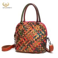 New Colorful Soft Leather Famous Luxury Patchwork Large Shopping Purse Handbag Shoulder Bag Women Design Female Tote Bag 9178