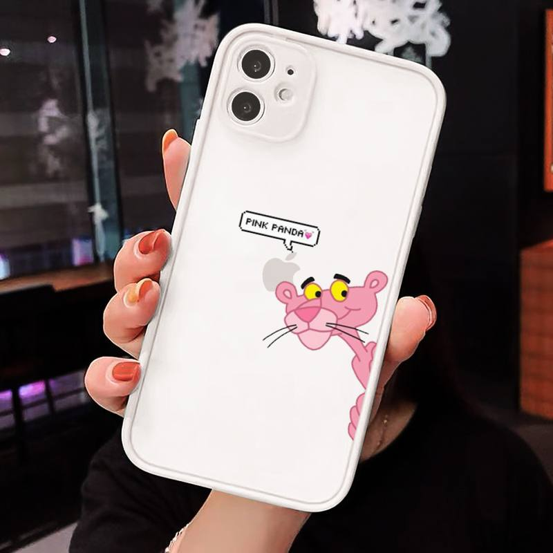 Pink Panther Cartoon cute Phone Cases Matte Transparent for iPhone 7 8 11 12 s mini pro X XS XR MAX Plus cover funda shell capa  - buy with discount