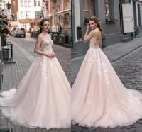 sweetheart 2021 charming wedding dress lace appliqued mordern a line garden gowns brides reception backless sexy vestido
