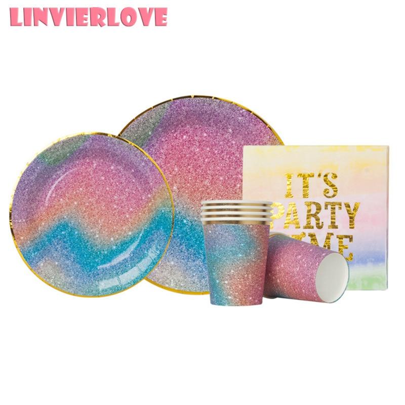 Paquete de servilletas desechables de feliz cumpleaños con diseño de cielo estrellado y arcoíris para Baby Shower, bodas, unicornio, suministros de decoración 1 unidad