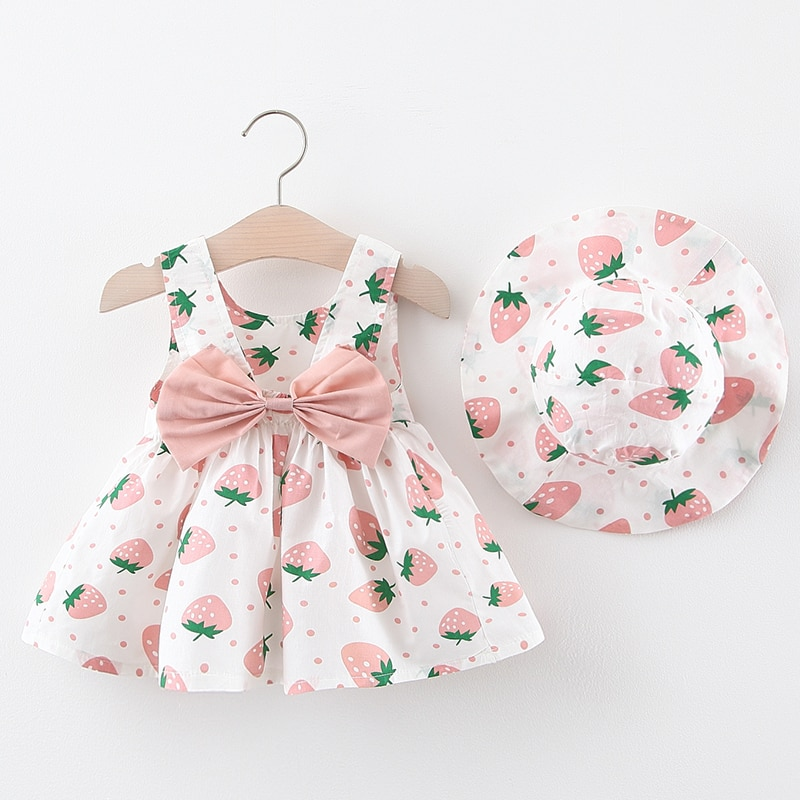 Ensemble de vêtements 2 pièces pour petites filles   Robe avec chapeau, sans manches, imprimé fraises, tenue de princesse, pour fête danniversaire