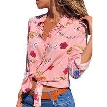 Señoras blusas Camisa larga manga blusa Mujer Flor floral blusa damas blusa de la gasa tops Oficina Camisas Blusas de mujer