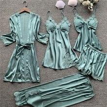 5 pieces silk pajamas sets women satin sleepwear robe pants autumn pijamas bathrobe sexy lingerie lace winter pyjamas