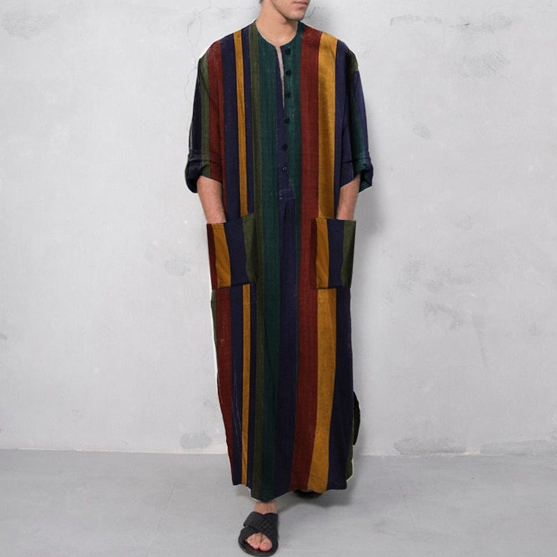 Muslim Fashion Mens Shirt Striped Print Robes Homewear Jubba Thobe Abaya Dubai Arabic Caftan Pakistan Vetement Homme Djellaba