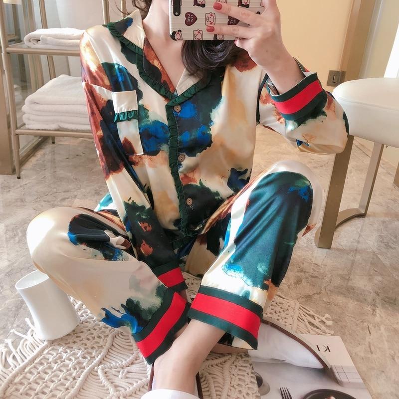 Conjunto de pijama con estampado para mujer, ropa de dormir Sexy, talla...