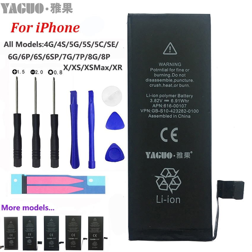 100% New Original Phone Battery For Apple iPhone 4 4S 5 5S 5C SE 6 6S 7 8 Plus X XS MAX XR Real Capacity 0 Cycle Free Tools Kit pinzheng battery for iphone 6s 6 7 8 plus x replacement high capacity phone battery for iphone 4s 5 5s 5c se xr xs max batterie