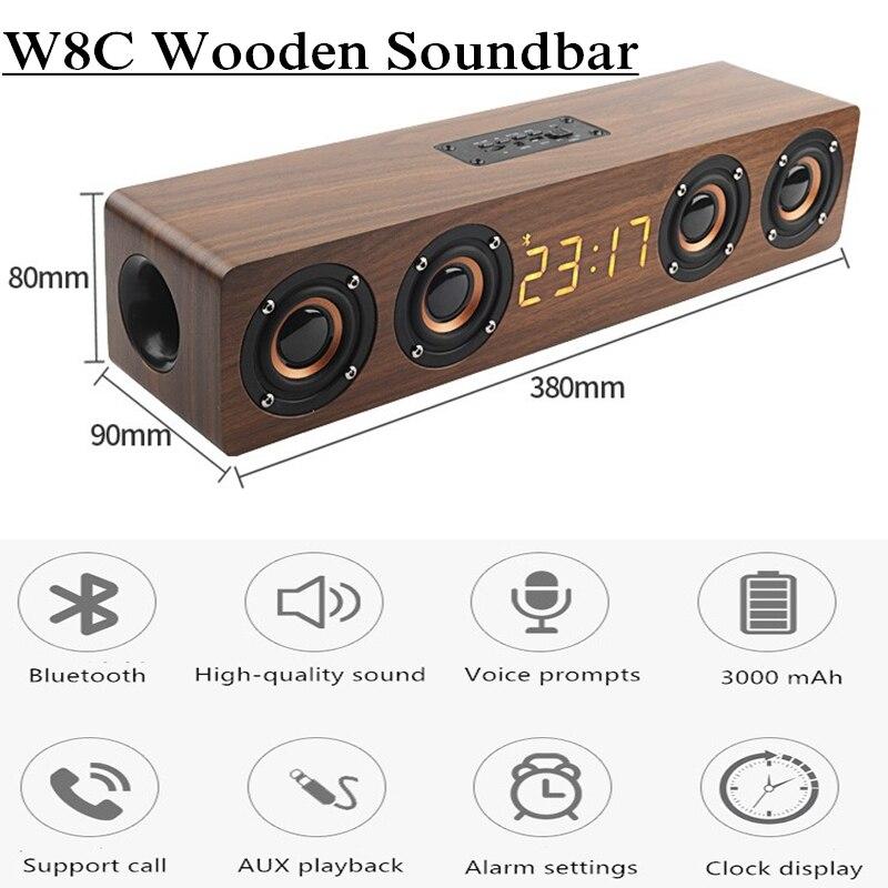 سمّاعات بلوتوث 4 سماعات تلفزيون ساوند بار مكبر الصوت مضخم صوت العمود مع ساعة رقمية بإضاءة ليد راديو FM نظام صوتي صندوق بوم