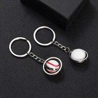 trend hot selling rotating small basketball football golf rugby baseball keychain metal ball key chain pendant