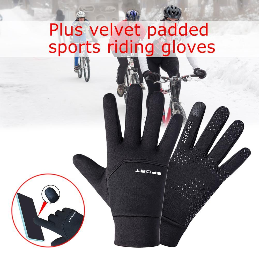 Thermal Winter Sports Gloves Waterproof Anti-slip Black Gloves Football Cycling Grip Outfield Field Player Sports Gloves