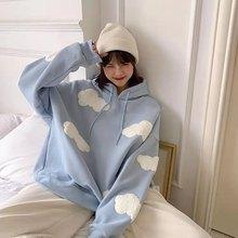 Women's Fleece Hoodie Sweatshirt Autumn Winter Warm Korean Women's Simple Fashion Leisure Women's Pu