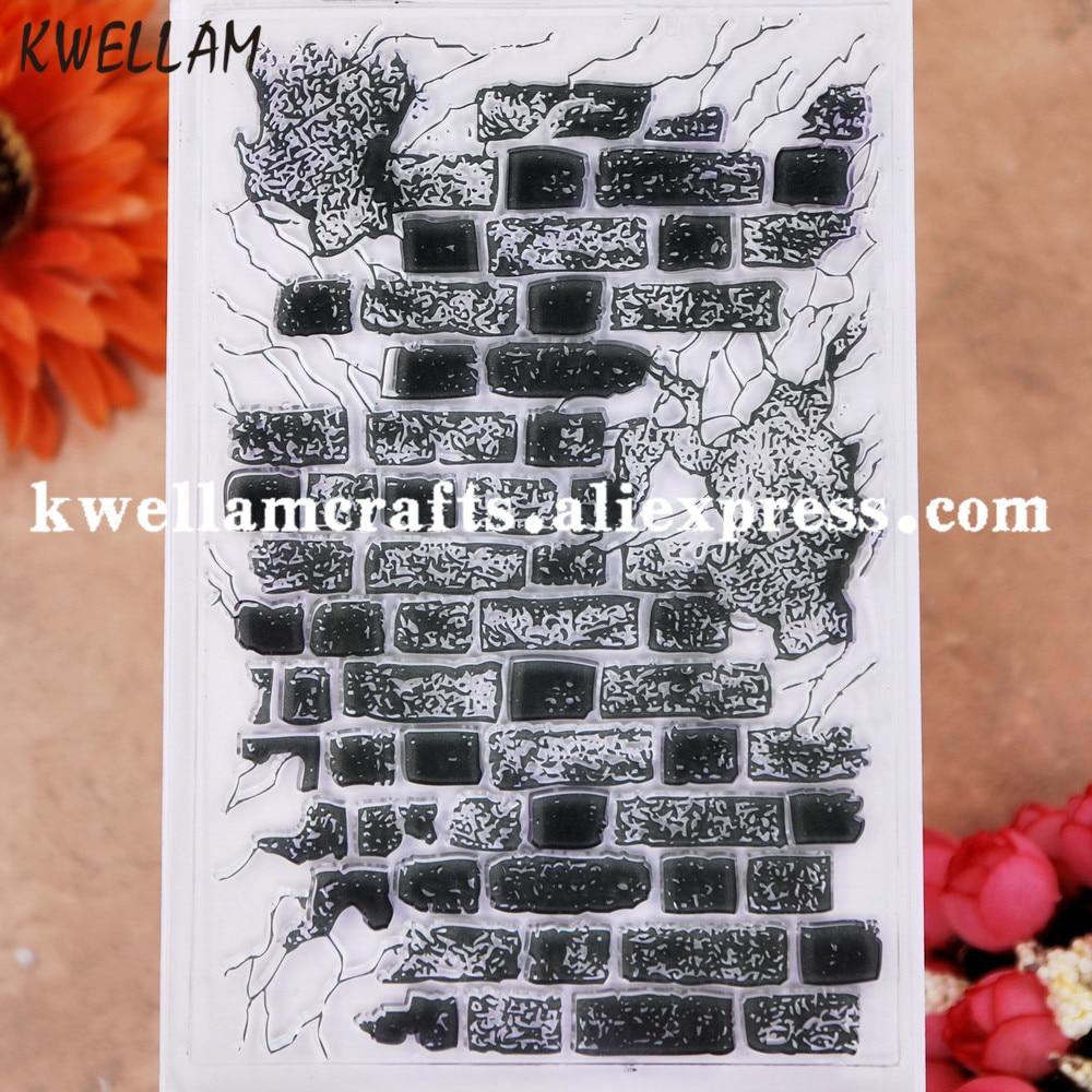 Fundo da parede de tijolos scrapbook cartões de fotos carimbo de borracha selo transparente kw9112844