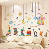 shijuehezi cartoon animals balloons wall stickers diy stars hangings wall decals for kids rooms baby bedroom home decoration