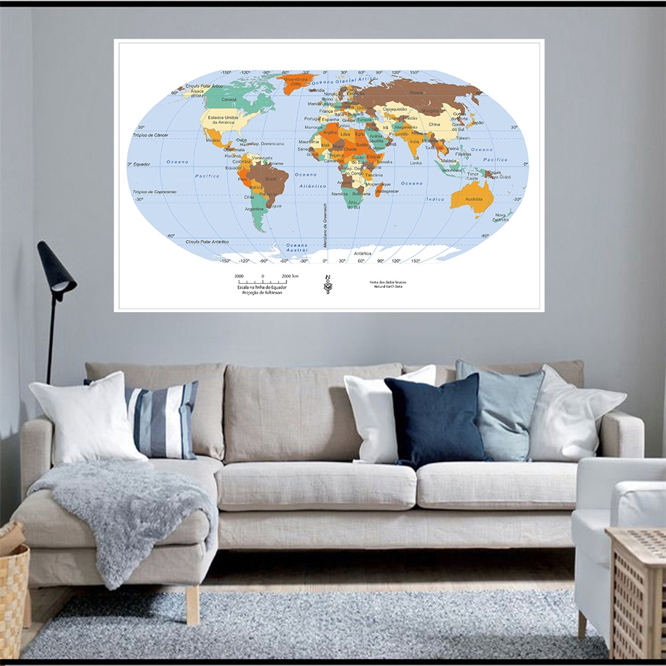 225*150cm The World Map In Portuguese Non-woven Canvas Painting Large Poster Wall Office Home Decor Children School Supplies