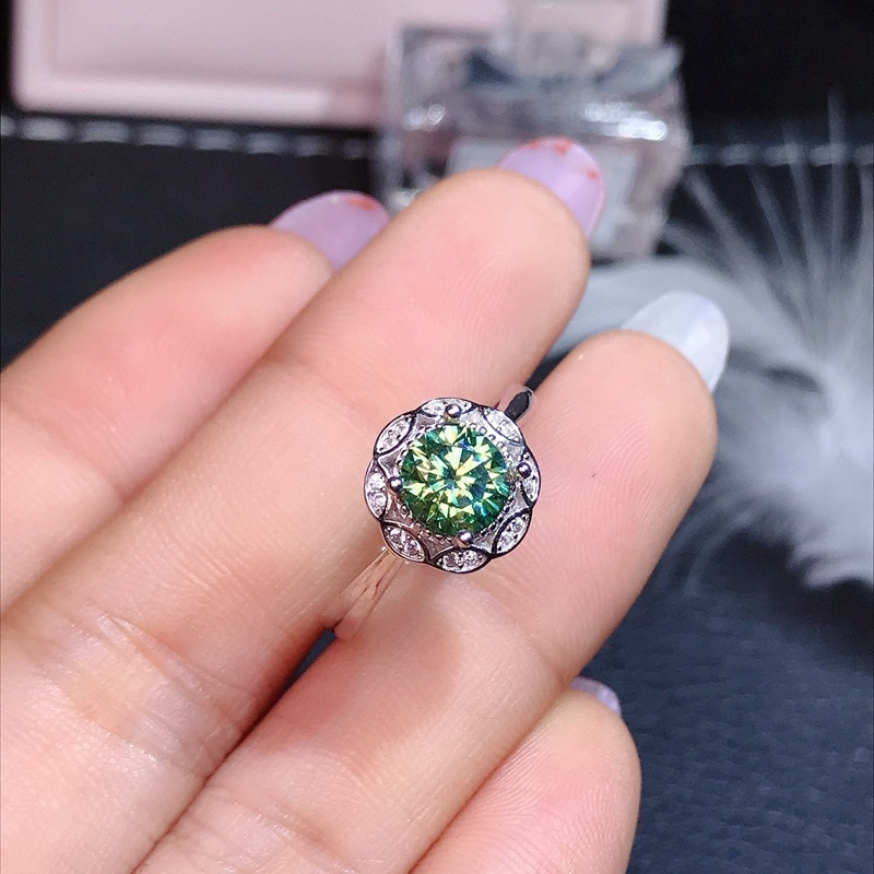 925 Sterling Silver Fashion Flower Rings Inlay Shiny Moissanite Resizable Ring Women's Wedding Engagement Luxury Fine Jewelry