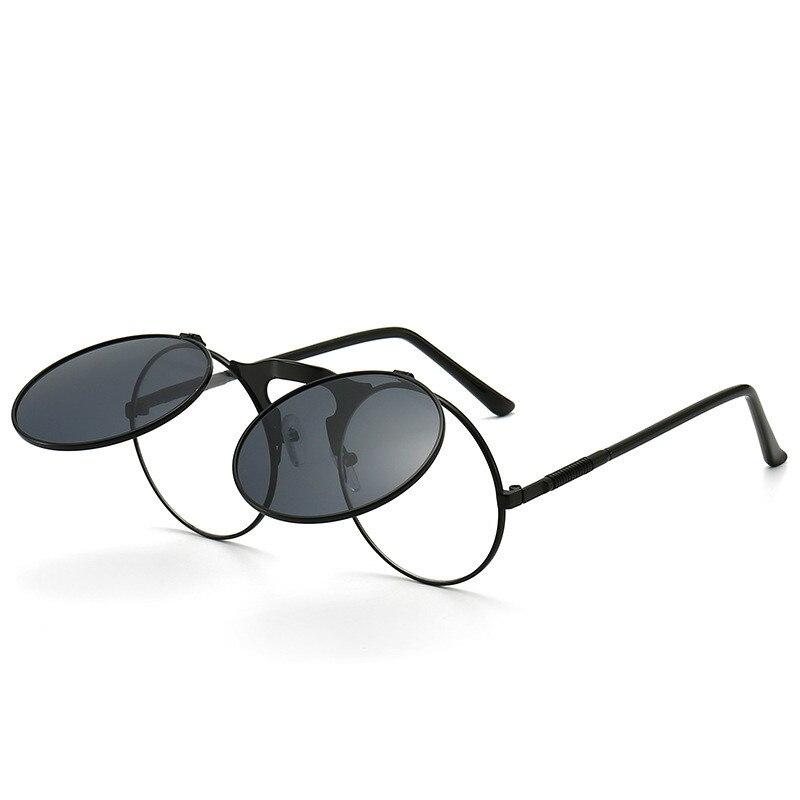 2021 металлические круглые солнцезащитные очки с откидной крышкой, готические солнцезащитные очки в стиле стимпанк, готические Круглые ретр...