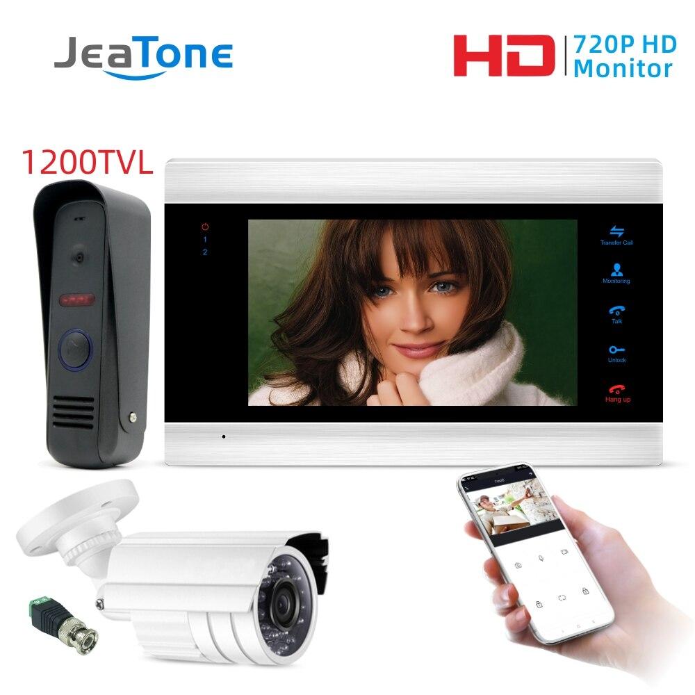 Cable WiFi video inteligente de la puerta teléfono intercomunicador timbre casa Sistema de Seguridad puerta altavoz llamada Panel + Monitor de 7 pulgadas + 1200TVL Cámara