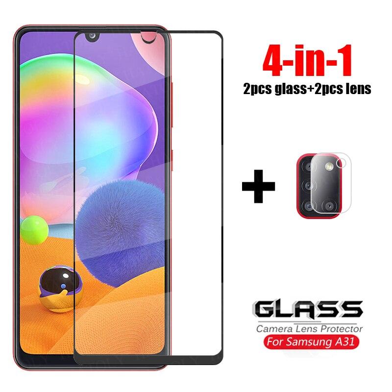 4-en-1 pour Samsung Galaxy A31 verre pour Samsung A21s M31 A51 A11 A41 A71 verre trempé protecteur décran caméra lentille Film verre