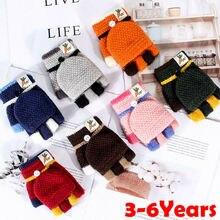 New Fashion Baby Unisex Warm Gloves Kids Boys Girls Winter gloves Half Finger Flip Cover Knitting Mittens 3-6Years