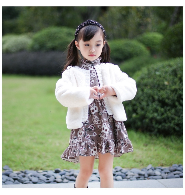 Baby Girl Coat faux fur Pearl Long Sleeve Princess Kids Outerwear Baby Clothes 2-6Y Y0067
