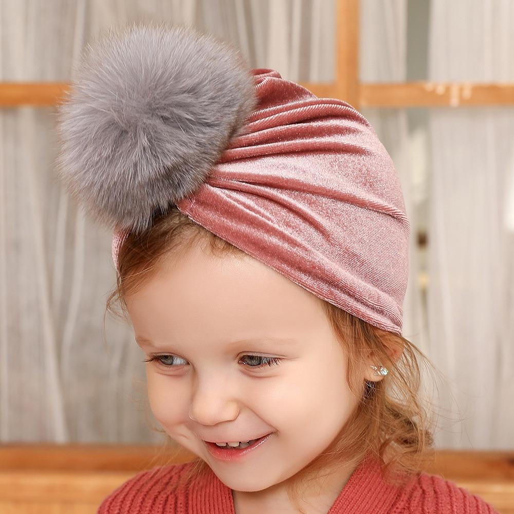 New Winter Baby Hat for Girls 10CM Genuine Fur Ball Baby Cap Pompom Infant Beanie Kids Turban Hat 8 Colors Children Hats