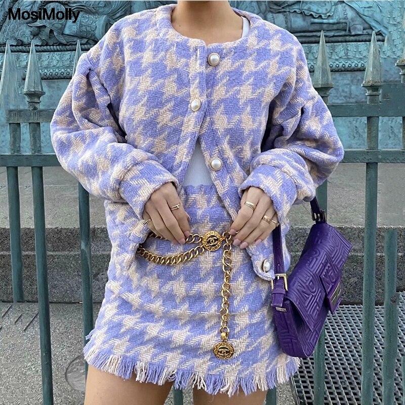 Mosimolly-طقم معاطف صوفية منقوشة ، ملابس عصرية بأزرار لؤلؤية ، ملابس حفلات أعياد الميلاد ، 2020