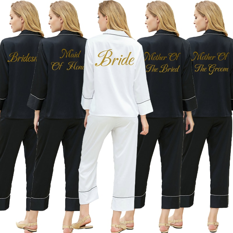 Шелковая атласная однотонная Пижама для женщин, пижама на заказ, Свадебный пижамный комплект, домашняя одежда, ночная одежда с надписями, че...