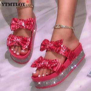 Sexy Summer Big Size Rhinestone Women Shoes And Printed Cute Fashion Bow Platform Slippers And Comfortable Sandals Slides Silk