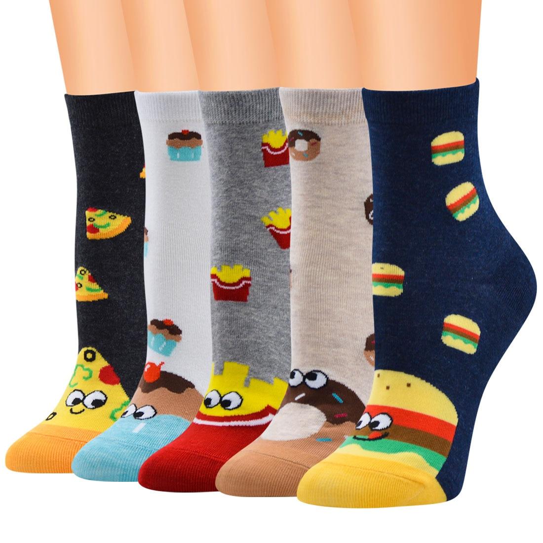 Female Cotton Footwear Women Low Tube Ankle Size Food Print Pattern Knitted Carton Socks For Teenage Girls