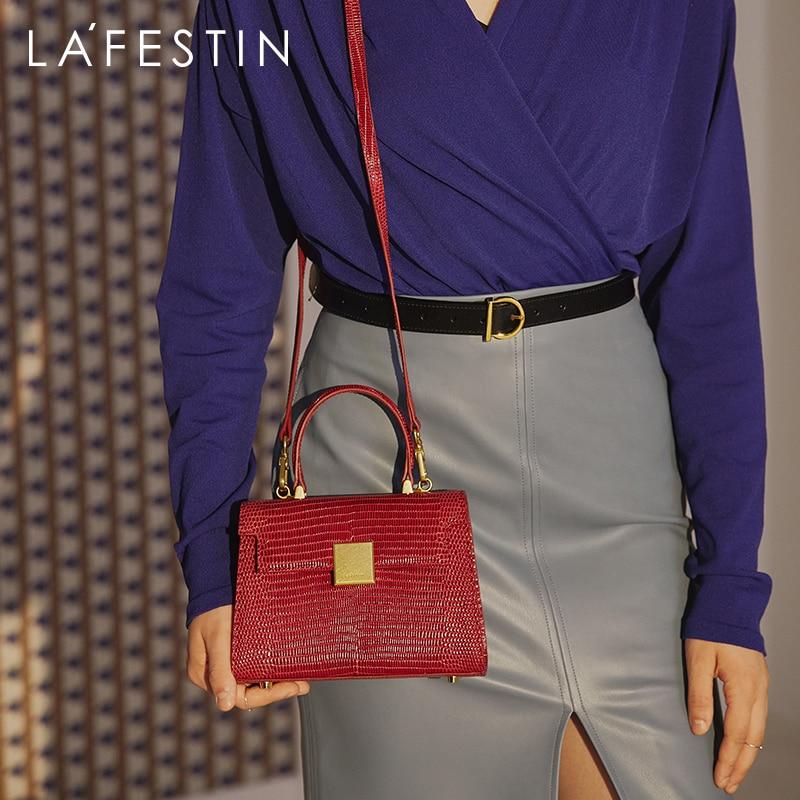 LA FESTIN حقيبة يد 2021 جديد عصري ريترو جلدية حقائب اليد حمل الإناث البرية واحدة الكتف رسول حقيبة الإناث عالية الجودة