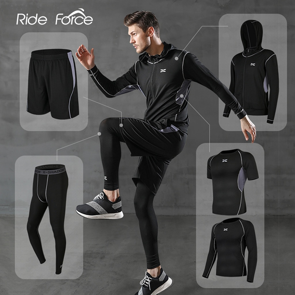 AliExpress - 5 Pcs/Set Men's Tracksuit Gym Fitness Compression Sports Suit Clothes Running Jogging Sport Wear Exercise Workout Tights