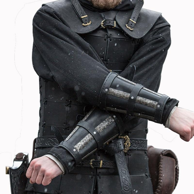 Brazalete Medieval Steampunk con correas de cuero de imitación para hombre, armadura...