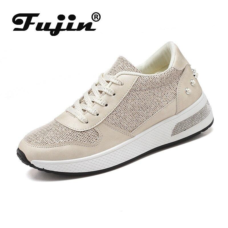 Fujin mujer Zapatillas plataforma encaje hasta bling strass remache moda 2020 primavera otoño Mujer Zapatos casuales tenis Femenino