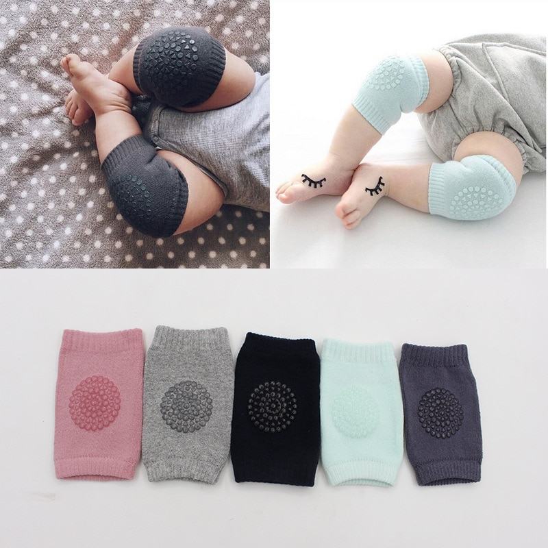 1 Pair Cotton Baby Knee Pads Kids Anti Slip Crawl Safety Necessary Environmental dot rubber Knee Pro