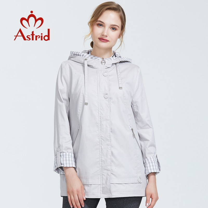 Astrid 2019 Autumn new arrival woman plus size short trench coat for women with a hood warm thin coa