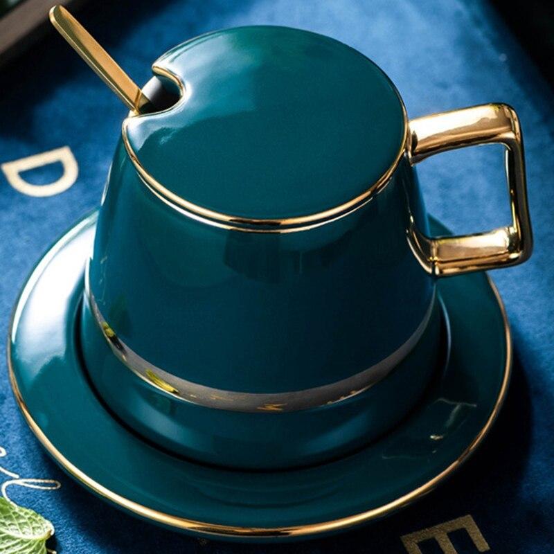 De lujo, estilo nórdico, juego de té de oro Set de tazas de café de cerámica plato con cuchara caja de regalo para hogar oficina té de la tarde