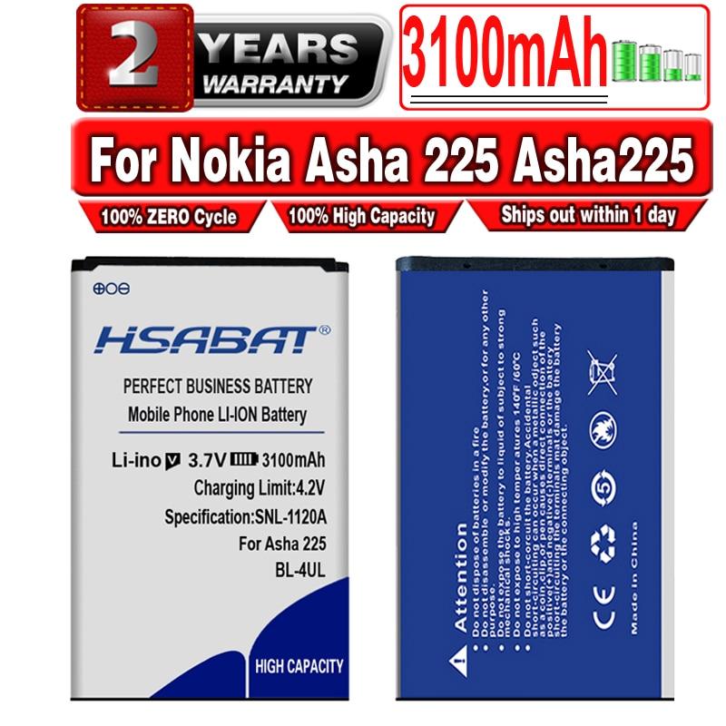 HSABAT 100% New 3100mAh BL-4UL for Nokia Asha 225 Asha225 Battery Li-ion Polymer Powerful Batteries