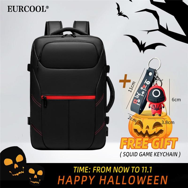 EURCOOL الرجال حقيبة السفر سعة كبيرة الذكور Mochilas حقيبة USB شحن 15.6 محمول على ظهره مقاوم للماء الحبار لعبة المفاتيح