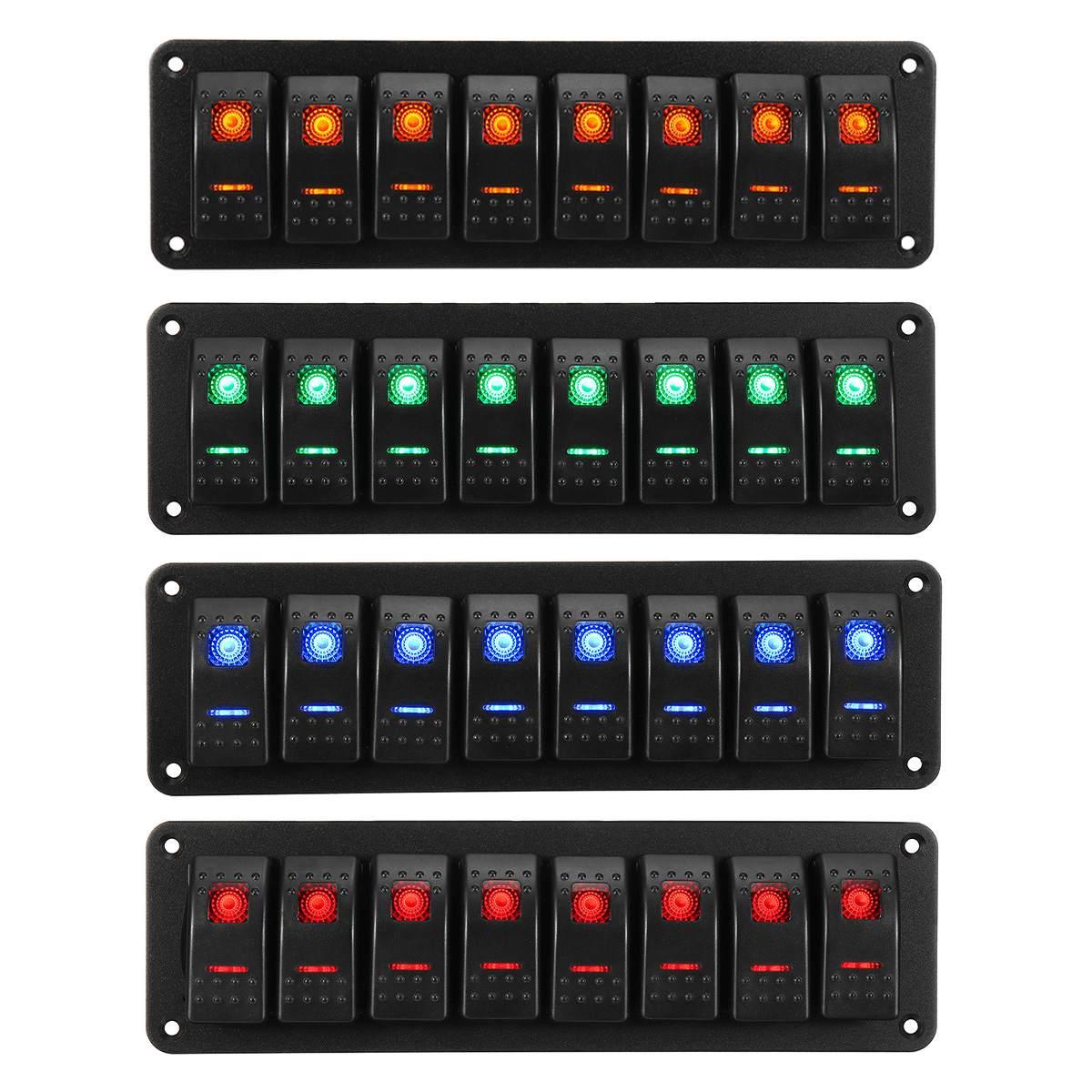 Waterproof 8 Gang Rocker Switch Panel Kit 12V 24V Circuit Breaker Green/Blue/Red/Orange LED Marine Boat Rocker Switch Panel