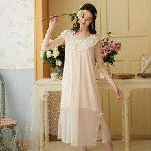 Wasteheart Pink Women Homewear Female Sexy Sleepwear Night Dress Long Lace V Neck Nightwear Nightgown Sleepwear Court Gown