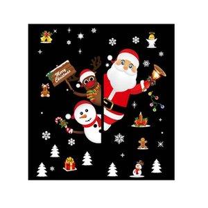 Christmas Wall Sticker Removable Bear Elk Window Glass Scene Arrangement Door And Window Decor House Decor XL866
