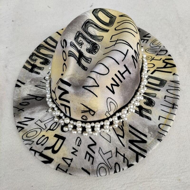 Шляпа fedoras женская с широкими полями, дизайнерская винтажная Панама с градиентным цветом, искусственная джазовая Кепка, черная Панама Дерби...