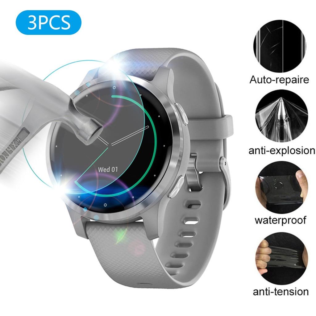 Protector de pantalla transparente suave de hidrogel de TPU de 3 uds. Vivoactive4S Garmin para relojes, accesorios protectores de pantalla