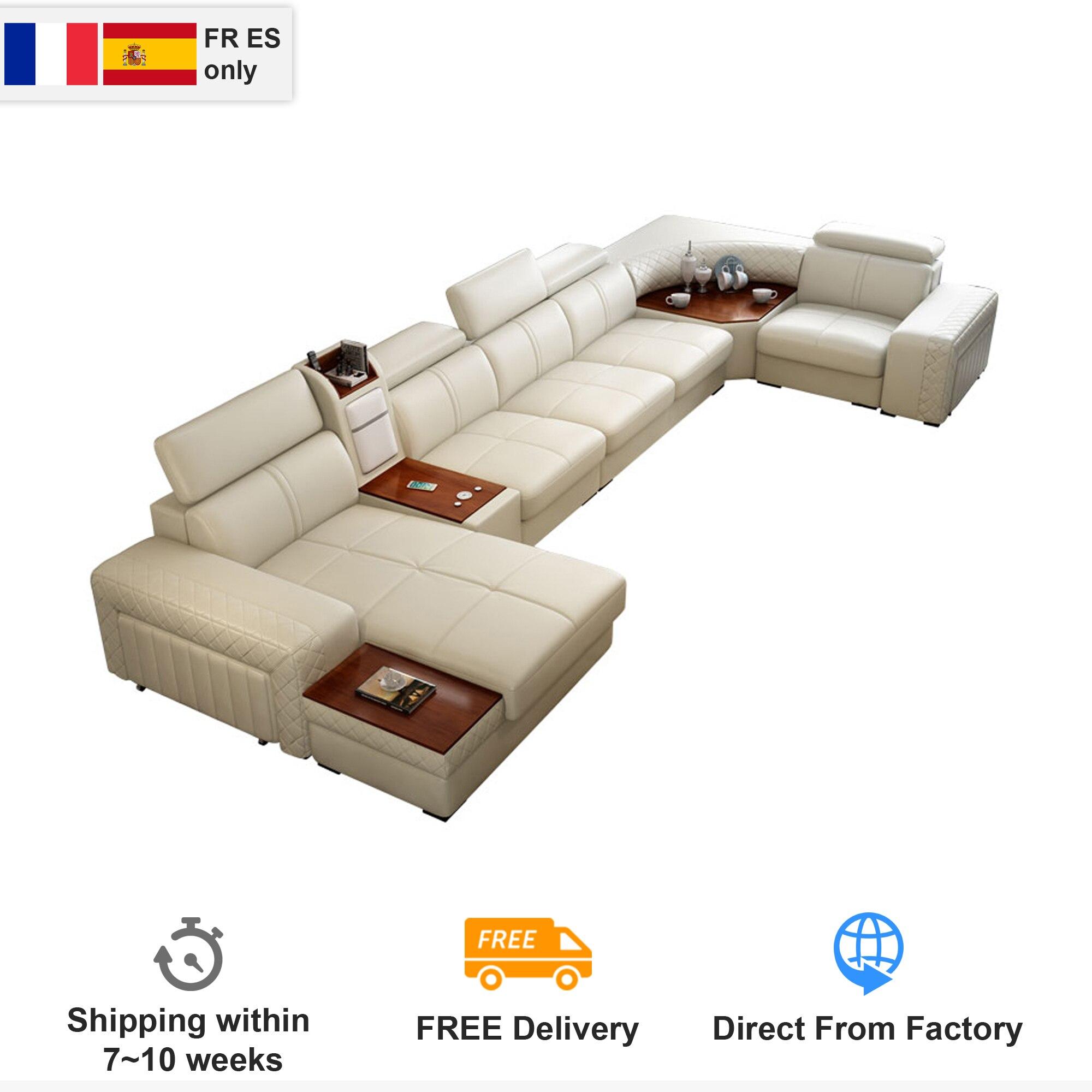 Функциональный диван из натуральной кожи для гостиной, угловой подстаканник для холодильника в форме U, с подогревом, USB, Зарядка для Iphone