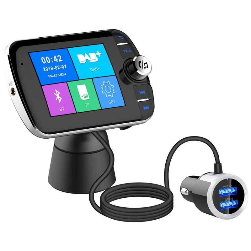 Radio de coche DAB + sintonizador de Radio receptor de Audio Digital con transmisor FM convertidor enchufe y adaptador de juego cargador USB