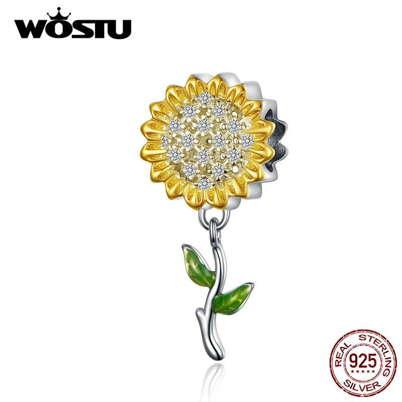Wostu girassol charme 925 prata esterlina amarelo esmalte contas caber pulseira original pingente encantos para fazer jóias cqc1211