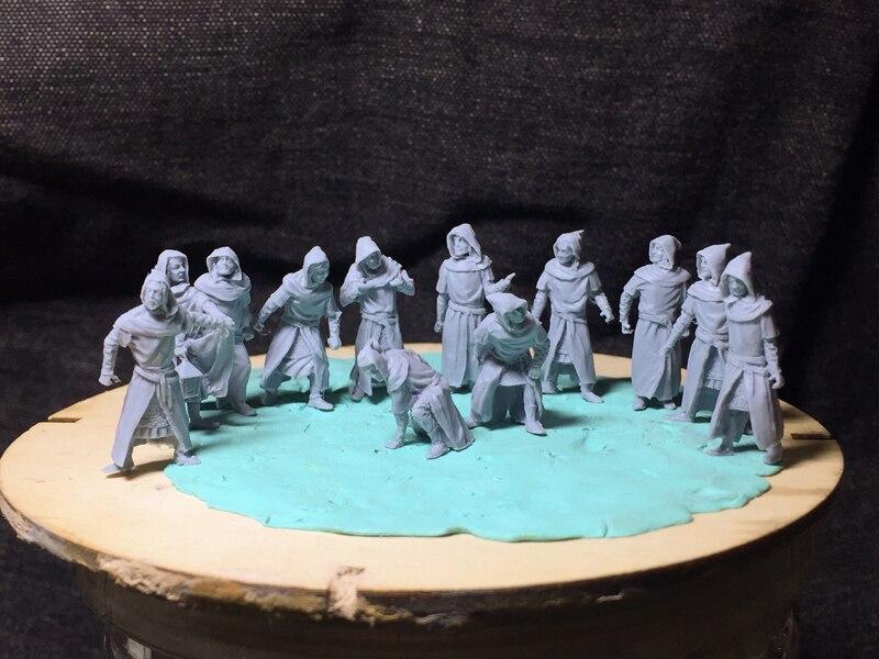 Super mini figura de resina 172, soldado antiguo medieval assassiner, 12 unids/set