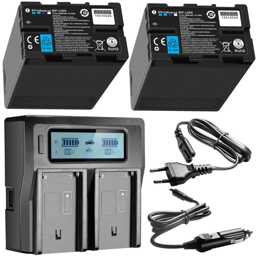 2 pçs BP-U65 BP-U60 BP-U30 BP-U90 bateria usb + d-tap + duplo carregador rápido para sony PMW-150P xdcam ex hd422 PHU-60K PXW-Z450 z190