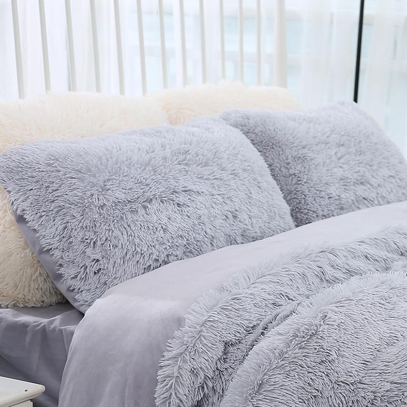 1 Piece Rectangle Throw Pillow Case 50x70cm Super Soft Long Plush Pillowcases Washable Home Bed Decorative Solid Pillowcase