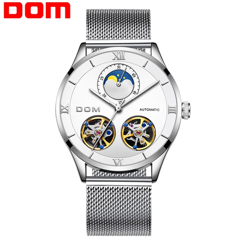 DOM Watches Man Stainless Steel Skeleton Watch Automatic Mechanical Men Genuine Leather Watches Self Winding Clock